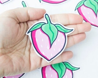 Pink Strawberry Sticker Kawaii Cute Digitally Painted Food Culinary Delicious Fruit Vegetables Red Pink Green White Juicy Watercolor Drawing