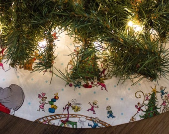 Christmas Tree Skirt-Grinch-Train-Holiday Decor-Christmas Decor-Tree Skirt-48-50""