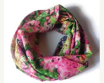 15% off women gift woman scarf infinity scarf spring scarf floral scarf chiffon scarf pink green scarf girlfriend gift scarf for woman scarv