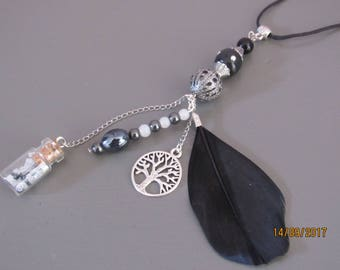 Necklace nature feather tree beads and bottle