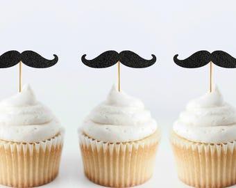 Set of 6 Mustache Cupcake Toppers - Mustache Birthday - Baby Boy Shower Cake Topper - Mustache Cupcake Toppers - Little Man Birthday Decor