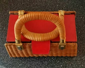 Rodo Wicker and Red Leather Vintage Purse
