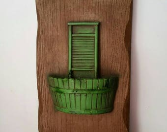 Vintage Green Washboard and Laundry Bucket Home Decor Wall Art