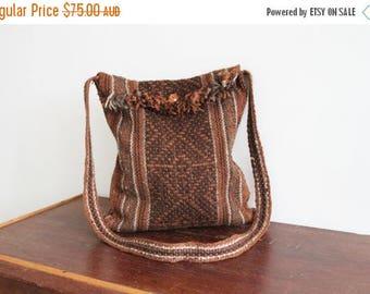 SALE 70s Carpet Bag Earth Tone Wool Knit Bohemian Turkish Festival Bag