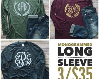 FALL SALE 3 Monogramed Long Sleeve Shirts
