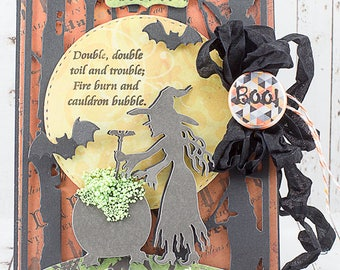 Handmade Witch / Bubbling Cauldron / Wicked Halloween Greeting Card