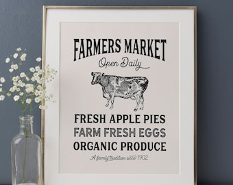 Farmers Market Sign, Farmhouse Kitchen, Farmhouse Decor, Rustic Kitchen, Vintage Kitchen Decor