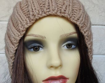 Hand Knitted Women's Camel Coloured Ribbed Winter Hat With Dark Brown Pompom - Free Shipping