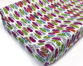 Tribal Feathers Print Changing Pad Cover/ Girl Contour Changing Pad Cover , Feather Nursery, Tribal, Changing Pad Cover,