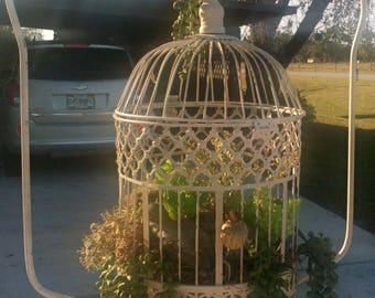 Vintage Bird Cage Succulent Garden On Stand..Faux Plants..1930s Cage