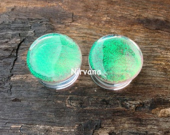 "Translucent Emerald Green Dichroic Glass Plugs No Background Color 10g 8g 6g 4g 2g 0G 00g  7/16"" 1/2"" 9/16"" 5/8"" 3/4"" 7/8"" 1""  3 mm - 25 mm"