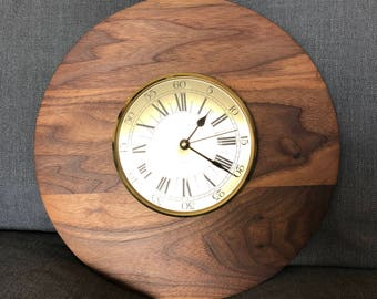 Upcycled Walnut Wall Clock ~ Reclaimed German Quartz Clock ~ Vintage Walnut and Brass Clock