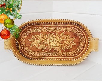 breakfast tray, wooden serving trays, decorative wooden tray, rose ornament, decorative plate, birch bark, serving trays, hand carved plate
