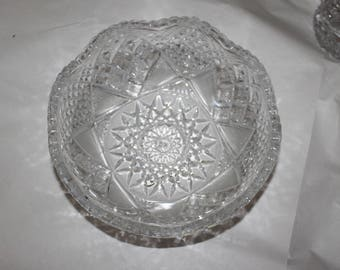 Vintage Cut Glass or Crystal, it Has Beveled Edges on Top and Would Make a Great Centerpiece on Dinning Room Table, It would Hold Jewelry