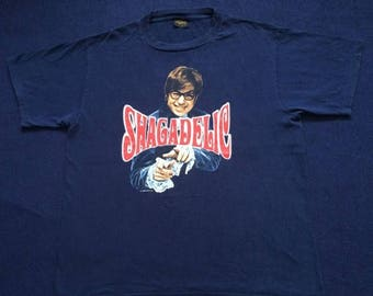 ON SALE 26% Vintage Austin Powers Shagadelic Shall We Shag Now or Shag Later 90s T shirt