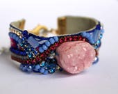 Pink Agate Bracelet Druzy Cuff Bracelet Coachella Festival Style Tribal Jewelry Crystal Friendship Bracelet Statement Cuff Bracelet Unique