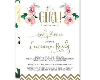 Baby Shower 5x7 Invitation - It's a Girl - Floral Boho Baby - watercolor roses and gold chevron - Printable and Personalized