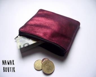 Porte monnaie en cuir - Rouge irisé