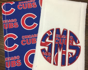 Monogram Chicago Cubs Burp Cloth Set