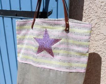 bag Tote/shoulder bag silver lamé linen, tweed camel pink/yellow handles, star glitter, camel leather handles