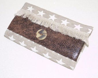 Checkbook holder cotton taupe/stars beige, brown leather and fringes
