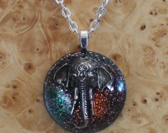 Silver Indian Elephant Ganesh Spirit Totem Turquoise/Orange Dome Soul-Antennas Crystal Orgone Energy Unisex Pendant Necklace Grace & Memory