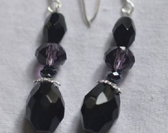 Jet and Crystal Silver 925 earrings