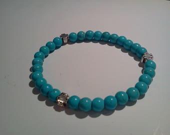 16cm 6 1/4in wrist 3x10 Turquoise bead prayer Cross bracelet Orthodox christian chotki komboskini blessed
