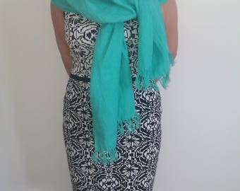 Turquoise Linen Scarf , 100% Linen Scarf , Natural linen scarf, Eco friendly Scarf