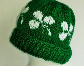 Green Toddler Hat With Shamrocks - Size 1 to 3 Years