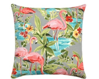 SALE Flamingo Outdoor Pillow Cover, Tropical Pillow Cover, Hot Pink Turquoise Gray Yellow Green Outdoor Pillow, Flamingo Bird Zippered Pillo