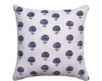 Indigo Hand Flora Pillow Cover, Pillow, Robert Allen Square Pillow, Lumbar Pillow, Eurosham, Accent Pillows, Throw Pillows, Toss Pillows