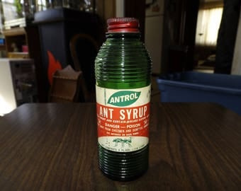 Vintage, Apothecary Bottles, Antrol Ant Syrup, Antique Glass Bottles, Rustic Farmhouse, Pharmacy Bottle, Textured Bottle, Green Glass