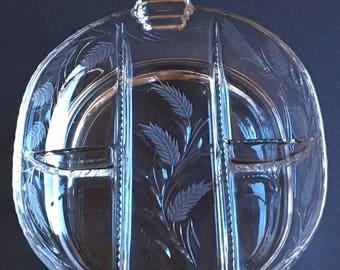 Vintage Cambridge Glass Crystal Etched 5 Part Relish Dish - Harvest