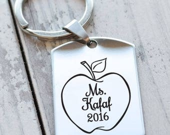 Apple for the Teacher Personalized Dog Tag Key Chain - Engraved