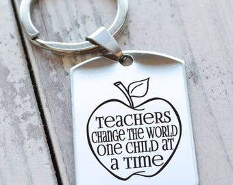 Teachers Change the World Personalized Dog Tag Key Chain - Engraved