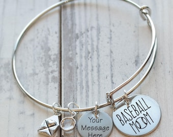Baseball Mom Wire Adjustable Bangle Bracelet