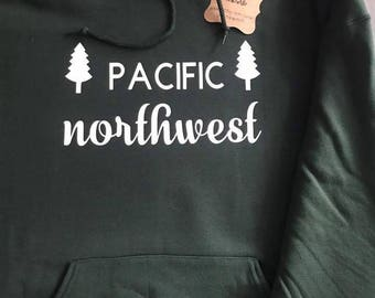 PNW Hoodie, Washington State, Seattle Washington, Pacific Northwest Sweatshirt, evertgreen trees, mountain tops