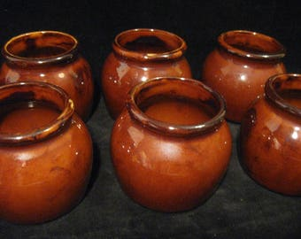 Vintage Hall Individual Brown Chili Cups Set of Six   Glazed Stoneware Bean Pot  Hall Brown Soup Bowls  Hall Brown Stoneware   Hall #462