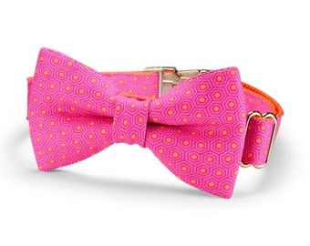Pink And Orange Tortoise Shell Bow Tie Dog Collar, Pink Dog Bow Tie Collar, Bow Tie Dog Collar, Hot Pink Dog Collar, Pink Orange Dog Collar