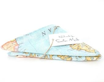 Map Pocket Square, Wanderlust, Light Blue Map Handkerchief, Atlas Pocket Square, World Map, Globetrotter, Gift Men under 25