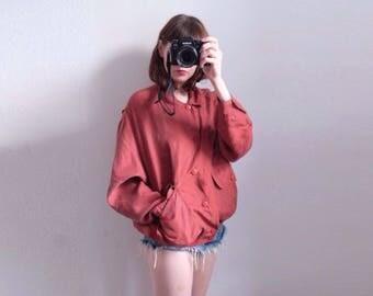 90s designer silk bomber jacket red unisex oversized