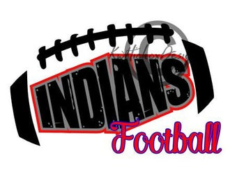 Indians Football Svg, Distressed Football Svg, Dxf Cutting File