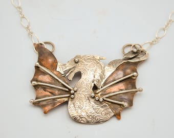 Sold - Available for Special Order - Dragon Sterling Silver and Copper Necklace