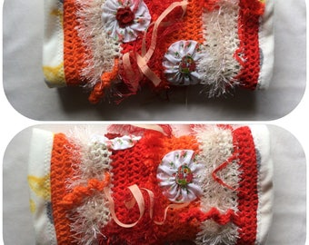 Orange Crochet Fidget Sensory Twiddle Muff Dementia Alzheimers Autism