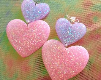 Large Sweet Heart Earrings - Pastel Pink & Purple