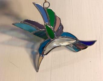 Stained Glass Hummingbird Suncatcher- Glass Art - Glass Ornament