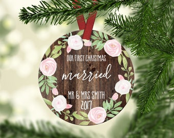 First Christmas Married.Marriage Christmas Ornament.Newlywed gift.Christmas Gift.Gift idea.Custom Christmas ornament.ornament