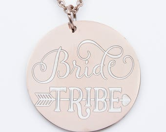 Rose gold Bride Tribe necklace, wedding party gift, bridal party, bridesmaid, matron of honor, silver or rode gold options, wedding jewelry