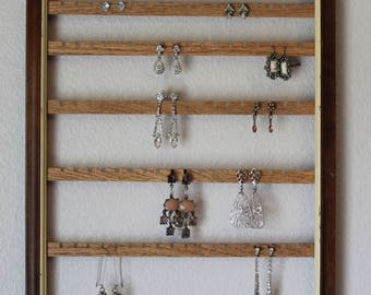 Hanging Jewelry Organizer Frame | Wall Mount Earring Organizer | Hanging Earring Holder | Wall Mount Jewelry Organizer  Jewelry Holder Frame